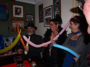 Customers learning to balloon twist